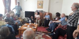 Mauricio and visitors at Fatima House's open day