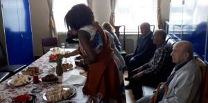 Guests at Fatima House stay for an Eritrean Eid meal