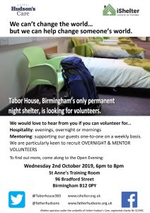 Tabor House volunteers open evening flyer