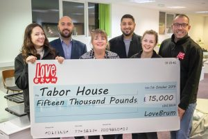 LoveBrum present cheque to Tabor House