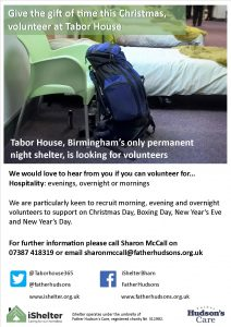 Tabor House is seeking volunteers over Christmas